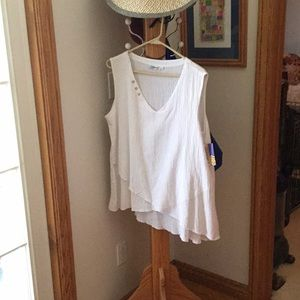 White tunic tiered top 100% cotton